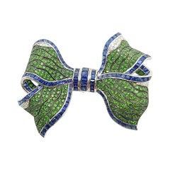 Tsavorite, Blue Sapphire with Diamond Bow Ribbon Brooch Set in 18k White Gold