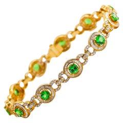 Tsavorite Bracelet 4.37 Carat with Diamonds 2.98 Carat 18 Karat Gold