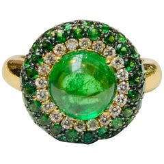 Tsavorite Cabochon Cocktail Ring, 18 Carat Yellow Gold, Made in Italy