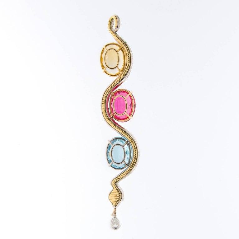 Art Deco Tsavorite Citrine Rubelite Topaz Diamond Serpent Pendent Necklace For Sale