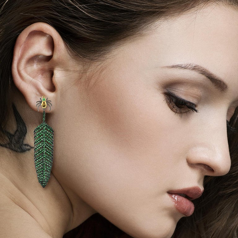 These stunning earrings are handmade in 14-karat gold and sterling silver.   It is set with 7.99 carats tsavorite and.50 carats citrine in blackened finish. Instock  FOLLOW MEGHNA JEWELS storefront to view the latest collection & exclusive pieces.
