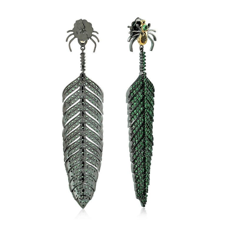 Contemporary Tsavorite Citrine Spider Feather Earrings For Sale