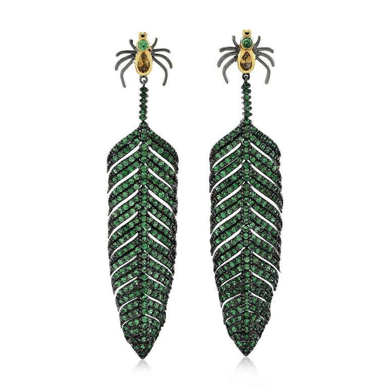 Tsavorite Citrine Spider Feather Earrings In New Condition For Sale In Hoffman Estate, IL