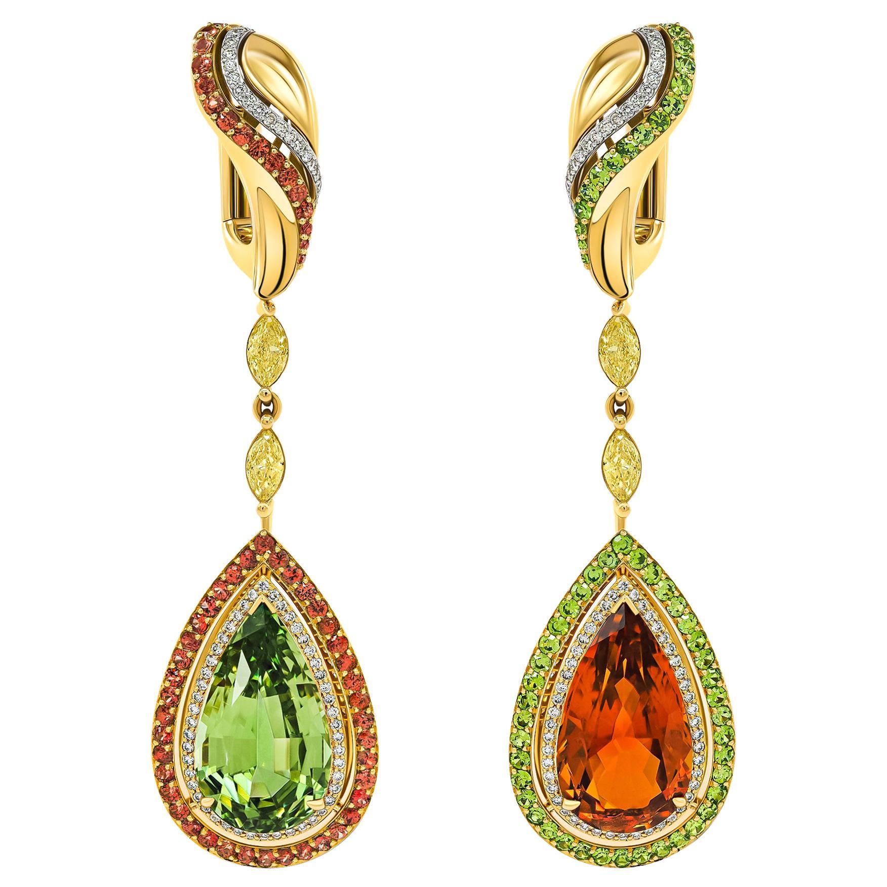 Tsavorite & Clinohumite Earrings Set, 18k Yellow Gold & Diamonds Earrings
