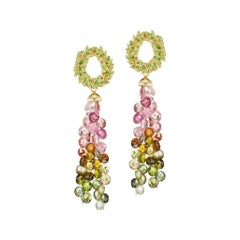 Tsavorite Gold  Earrings with Detachable Multicolored Tourmalines