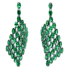 Tsavorite Dangle Earrings, 18 Karat Gold