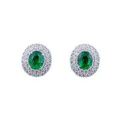 Tsavorite Diamond Ear Studs in 18 Karat Gold