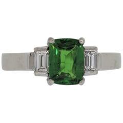 Tsavorite Diamond Platinum 3-Stone Ring