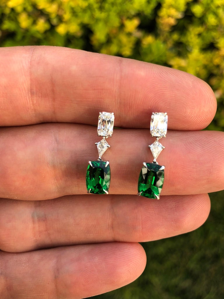 Tsavorite Earrings 3.26 Carat Cushion Cuts In New Condition For Sale In Beverly Hills, CA