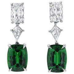 Tsavorite Diamond Platinum Cushion Drop Earrings
