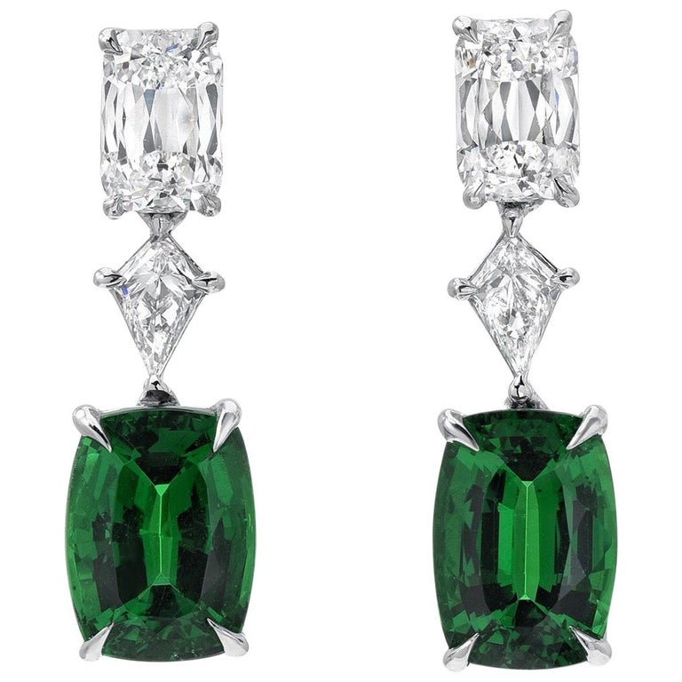 Cushion Cut Tsavorite Earrings 3.26 Carats For Sale