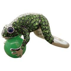 Tsavorite Diamond Sapphire Jade Gold Frog Ring