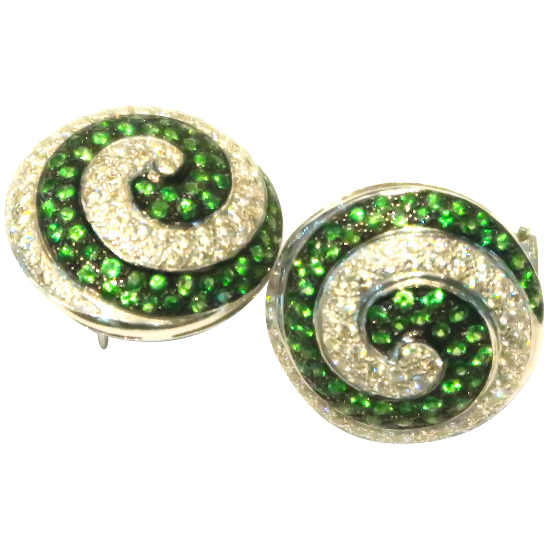 Tsavorite Diamond Twirl Pierced Clip-On White Gold Earrings