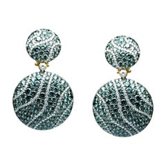 Tsavorite Diamond Yellow Gold 18 Karat Chic Dangle Clip-On Earrings