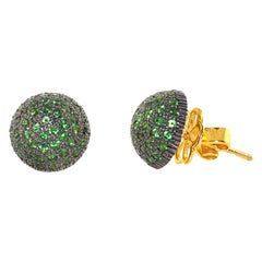 Tsavorite Dome Stud Earrings