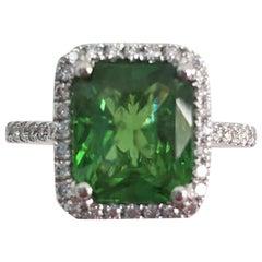 Tsavorite Fashion Ring with Trillion Diamonds