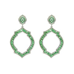 Tsavorite Garnet 18 Karat White Gold Mauresque Drop Earrings Natalie Barney