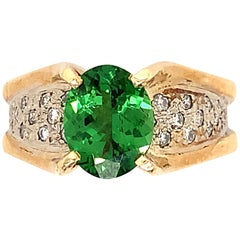 Tsavorite Garnet 2.42 Carat, 14 Karat Two-Tone Ring with Diamonds