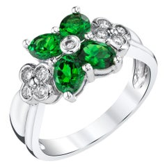 Tsavorite Garnet 4-Leaf Clover Ring with Diamonds 18k White Gold