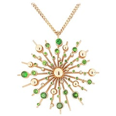 Tsavorite Garnet 9 Karat Rose Gold Soleil Pendant Chain Necklace Natalie Barney