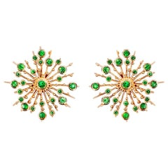 Tsavorite Garnet 9 Karat Rose Gold Soleil Stud Earrings Natalie Barney