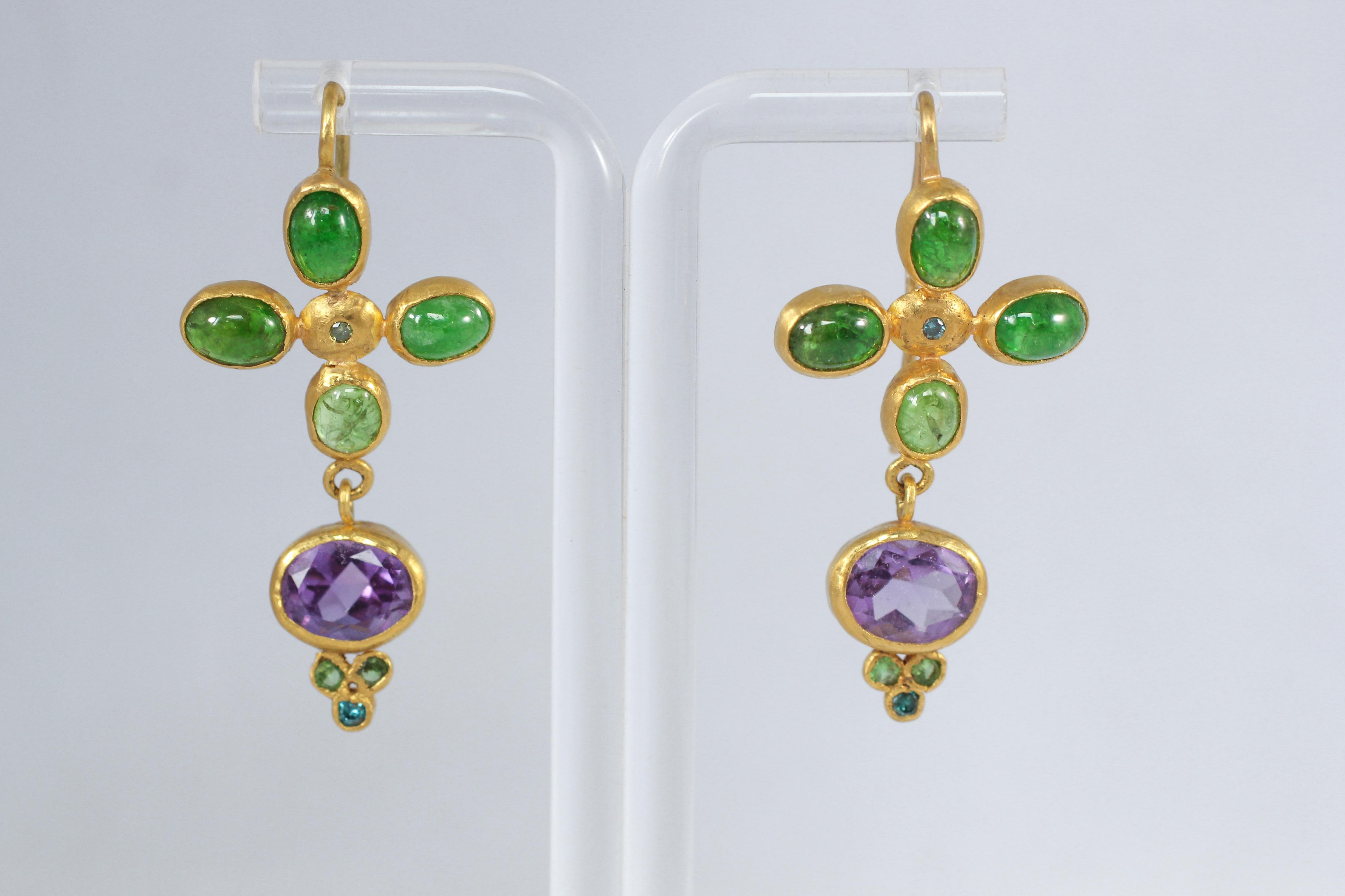 Tsavorite Garnet Amethyst and Blue Diamonds 22k -21k Gold Dangle Drop Earrings