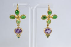 Tsavorite Garnet Amethyst and Blue Diamonds 22k -21k Gold Dangle Drop Earrings