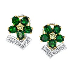 Tsavorite Garnet Flower, Diamond Baguette, 18k Gold French Clip Post Earrings