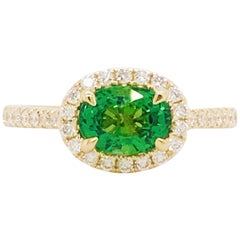 Tsavorite Garnet and Diamond Halo Ring 1.75 Carat 14 Karat Yellow Gold Ring