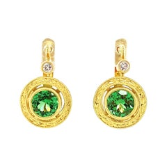 Tsavorite Garnet and Diamond Yellow Gold Round Drop Lever-Back Earrings