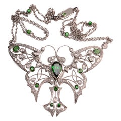 Tsavorite Garnet and Rose Cut Diamond Butterfly Pendant in 18 Karat White Gold