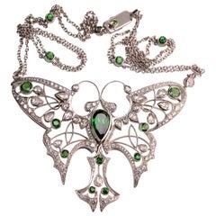 Tsavorite Garnet and Rose Cut Diamond Butterfly Pendant in 18 Karat White Gold