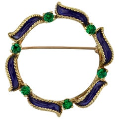 Tsavorite Garnet Brooch with Blue Enamel 18 Karat Yellow Gold