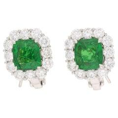 Tsavorite Garnet Diamond Cluster Earrings