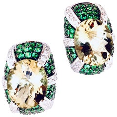 Tsavorite Garnet, Diamond, Lemon Quartz 14 Karat White Gold Earrings