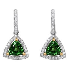 Tsavorite Earrings 3.50 Carat Trillions