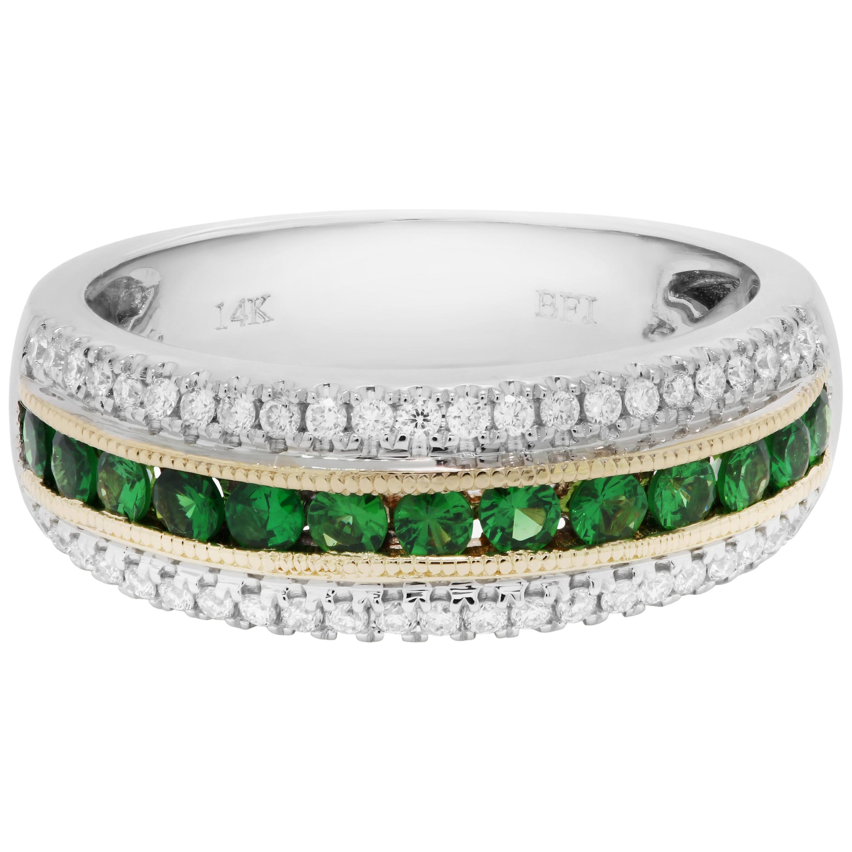 Tsavorite Garnet Diamond Three-Row Two-Color Gold Fashion Cocktail Band Ring