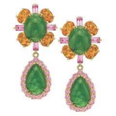 Tsavorite Garnet, Orange and Pink Sapphire Day to Night Earrings