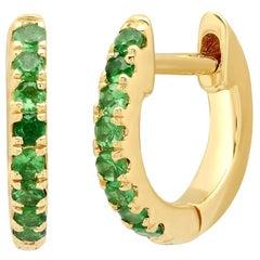 Tsavorite Gemstone Mini Huggie Earrings, Gold, Ben Dannie