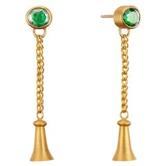 Tsavorite Green Garnet 22 Karat Gold Dangle Golden Bluebell Earrings, 18k Posts