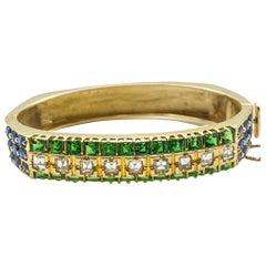 Tsavorite Green Garnets 3 Carat + 2 Carat Sapphires and 2 Carat Diamonds Bangle
