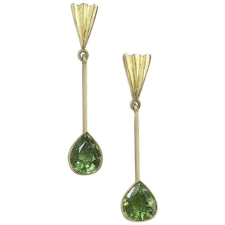 Tsavorite Long Drop Earrings For Sale