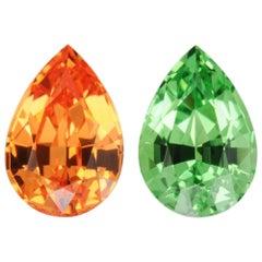 Tsavorite Mandarin Garnet Earrings Pair 2.01 Carat