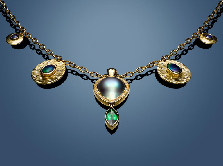 Artisan Tsavorite, Opal, Sapphire, Diamond and Sea of Cortez Pearl Necklace