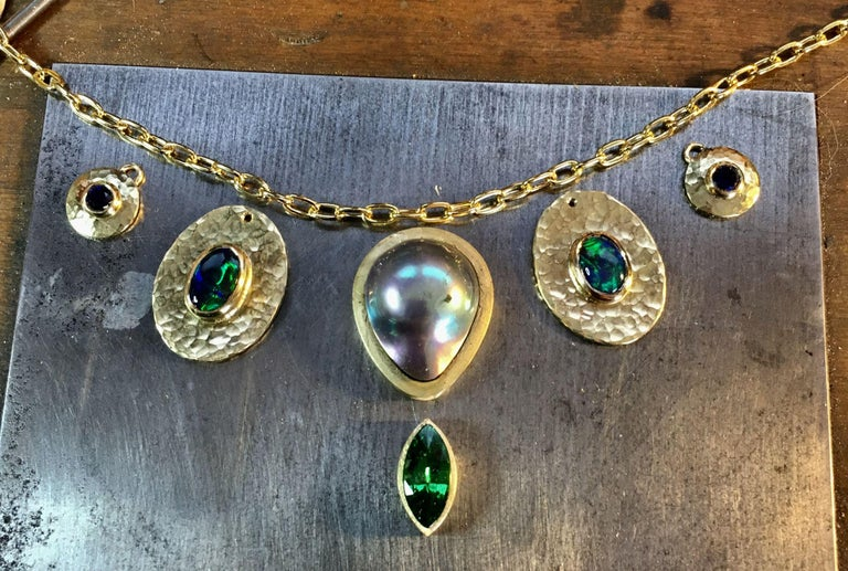Tsavorite, Opal, Sapphire, Diamond and Sea of Cortez Pearl Necklace In New Condition In Berkeley, CA