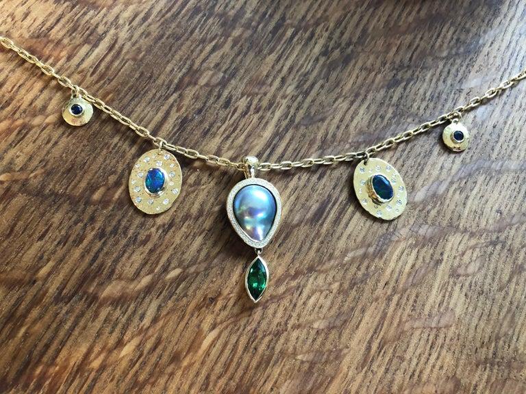 Women's or Men's Tsavorite, Opal, Sapphire, Diamond and Sea of Cortez Pearl Necklace