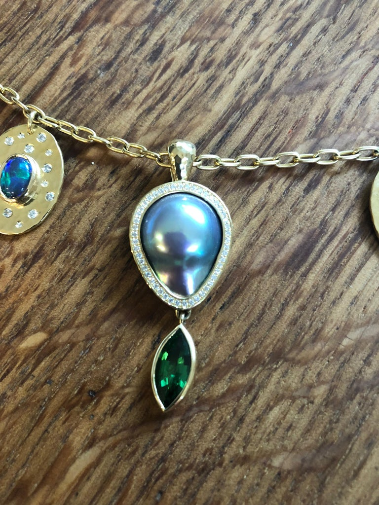 Tsavorite, Opal, Sapphire, Diamond and Sea of Cortez Pearl Necklace 1
