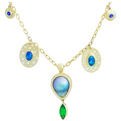 Tsavorite, Opal, Sapphire, Diamond and Sea of Cortez Pearl Necklace