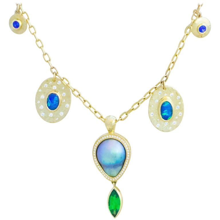 Tsavorite, Opal, Sapphire, Diamond and Sea of Cortez Pearl Necklace