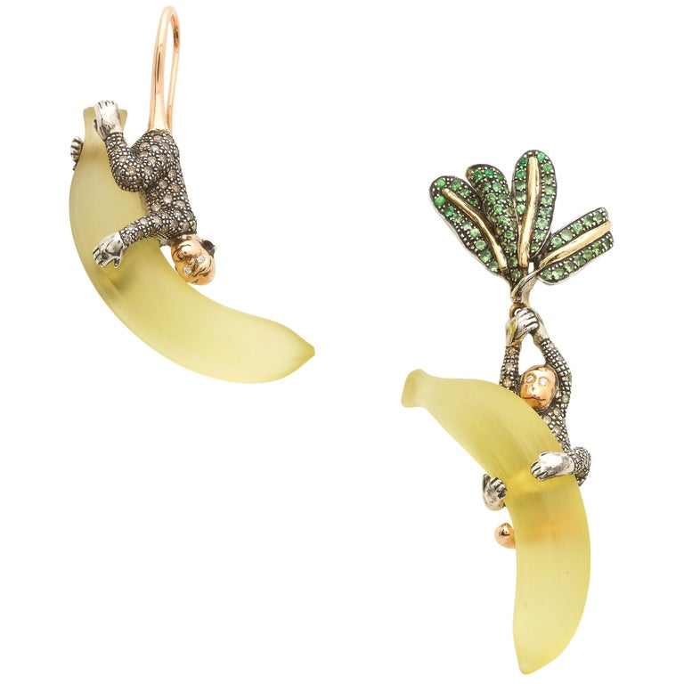 Tsavorite Palm Leaf with Diamond Monkey on Lemon Quartz Banana 18k Gold Earrings For Sale